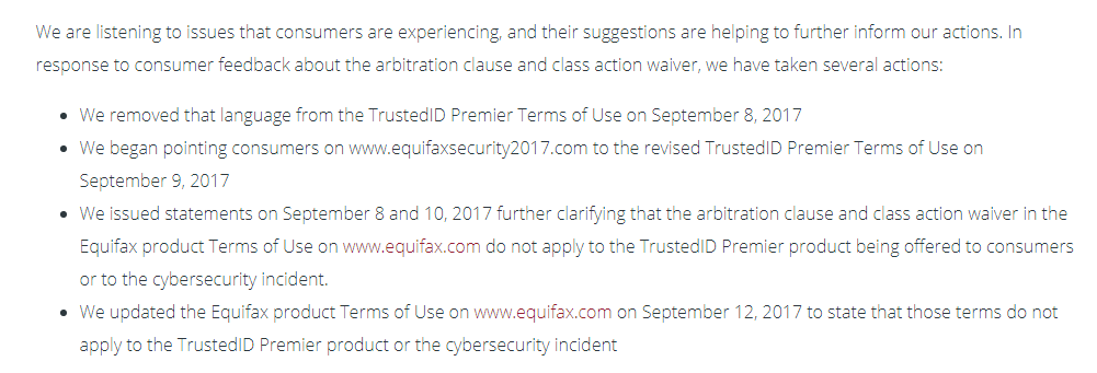Equifax TOS